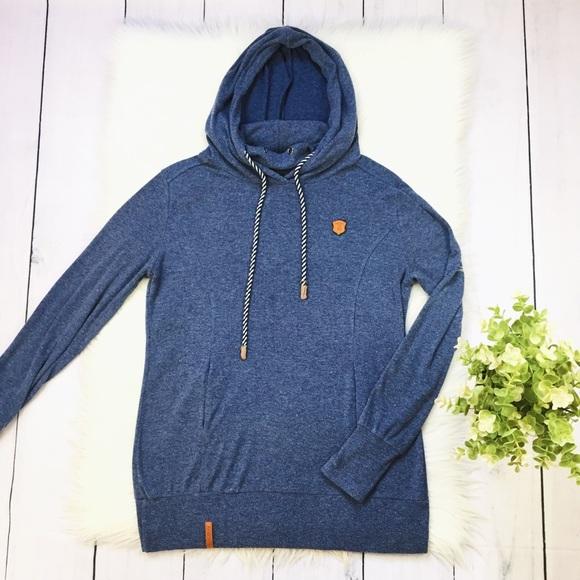 Naketano Blue Long Hood Drawstring Sweatshirt #240